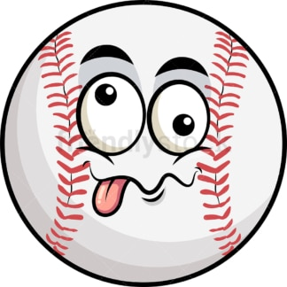 Goofy crazy eyes baseball emoticon. PNG - JPG and vector EPS file formats (infinitely scalable). Image isolated on transparent background.