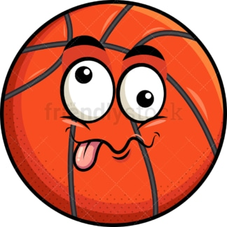 Goofy crazy eyes basketball emoticon. PNG - JPG and vector EPS file formats (infinitely scalable). Image isolated on transparent background.