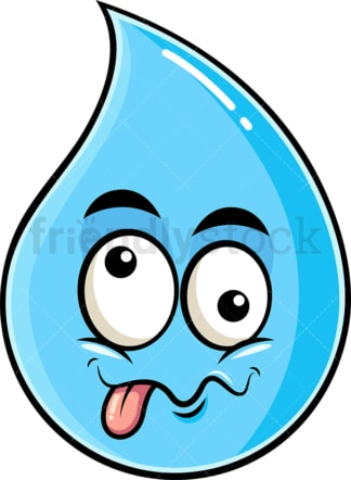 Goofy crazy eyes raindrop emoticon. PNG - JPG and vector EPS file formats (infinitely scalable). Image isolated on transparent background.