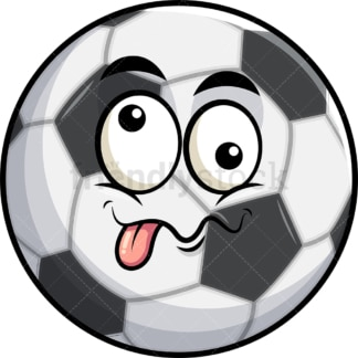 Goofy crazy eyes soccer ball emoticon. PNG - JPG and vector EPS file formats (infinitely scalable). Image isolated on transparent background.