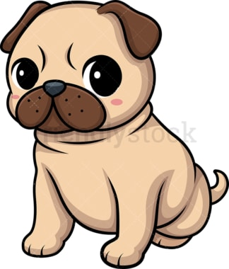 Kawaii pug dog. PNG - JPG and vector EPS (infinitely scalable).