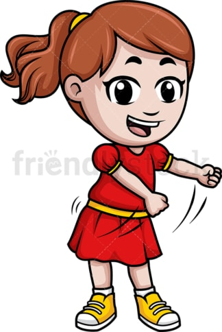 Little girl dancing the floss. PNG - JPG and vector EPS (infinitely scalable).