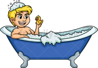 Man holding yellow duck in bathtub. PNG - JPG and vector EPS (infinitely scalable).
