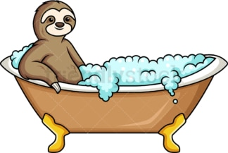 Sloth having a bath. PNG - JPG and vector EPS (infinitely scalable).