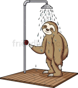Sloth showering. PNG - JPG and vector EPS (infinitely scalable).