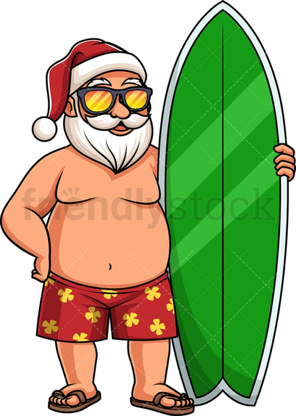 Summer santa claus with surfboard. PNG - JPG and vector EPS (infinitely scalable).