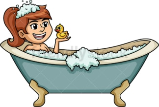 White woman enjoying bath in the tub. PNG - JPG and vector EPS (infinitely scalable).