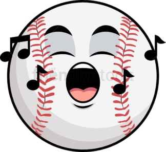 Singing baseball emoticon. PNG - JPG and vector EPS file formats (infinitely scalable). Image isolated on transparent background.