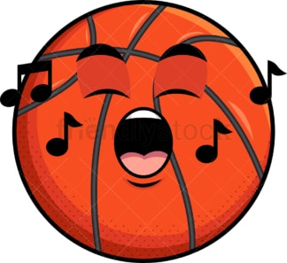 Singing basketball emoticon. PNG - JPG and vector EPS file formats (infinitely scalable). Image isolated on transparent background.