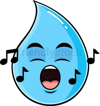 Singing raindrop emoticon. PNG - JPG and vector EPS file formats (infinitely scalable). Image isolated on transparent background.