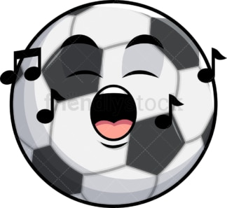 Singing soccer ball emoticon. PNG - JPG and vector EPS file formats (infinitely scalable). Image isolated on transparent background.