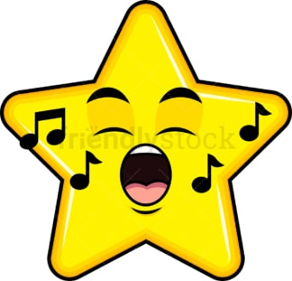 Singing star emoticon. PNG - JPG and vector EPS file formats (infinitely scalable). Image isolated on transparent background.