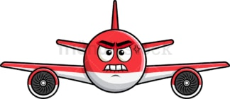 Angry airplane emoticon. PNG - JPG and vector EPS file formats (infinitely scalable). Image isolated on transparent background.
