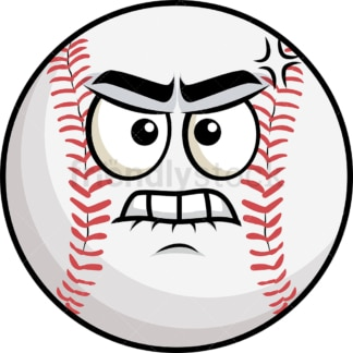 Angry baseball emoticon. PNG - JPG and vector EPS file formats (infinitely scalable). Image isolated on transparent background.