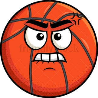 Angry basketball emoticon. PNG - JPG and vector EPS file formats (infinitely scalable). Image isolated on transparent background.