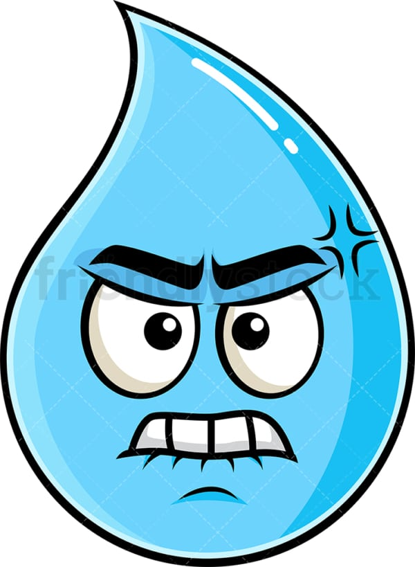 Angry raindrop emoticon. PNG - JPG and vector EPS file formats (infinitely scalable). Image isolated on transparent background.