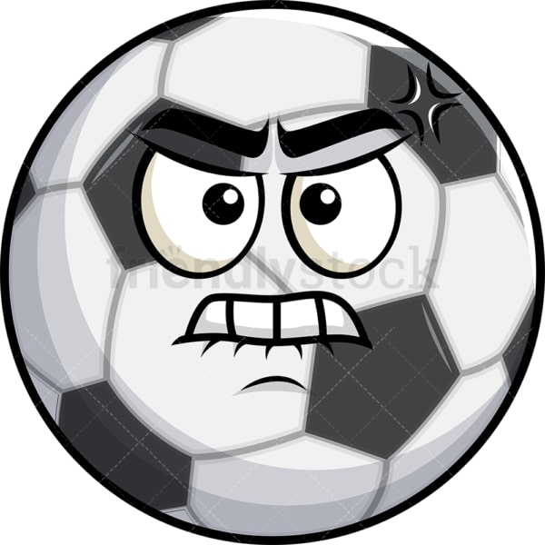 Angry soccer ball emoticon. PNG - JPG and vector EPS file formats (infinitely scalable). Image isolated on transparent background.