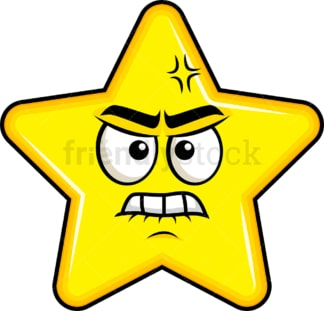 Angry star emoticon. PNG - JPG and vector EPS file formats (infinitely scalable). Image isolated on transparent background.