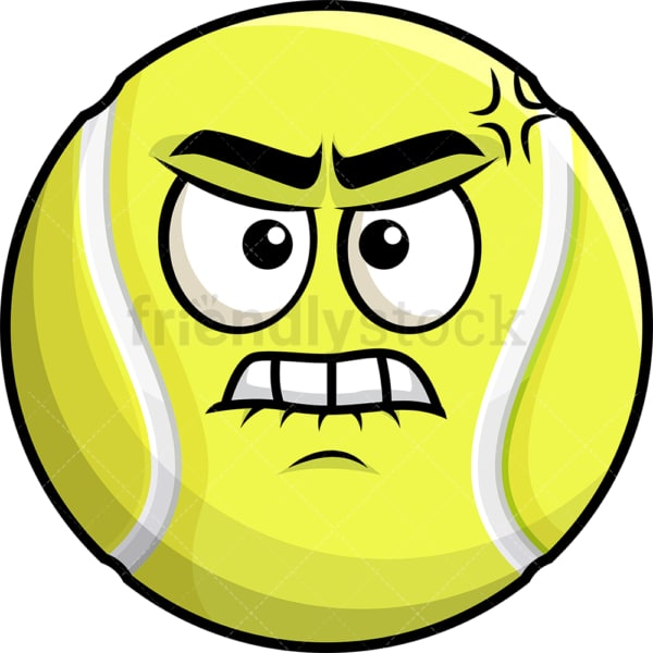 Angry tennis ball emoticon. PNG - JPG and vector EPS file formats (infinitely scalable). Image isolated on transparent background.