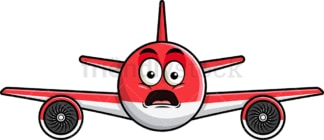 Shocked airplane emoticon. PNG - JPG and vector EPS file formats (infinitely scalable). Image isolated on transparent background.
