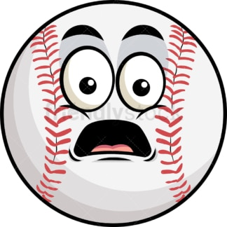Shocked baseball emoticon. PNG - JPG and vector EPS file formats (infinitely scalable). Image isolated on transparent background.