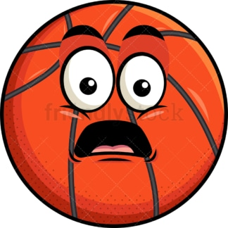 Shocked basketball emoticon. PNG - JPG and vector EPS file formats (infinitely scalable). Image isolated on transparent background.