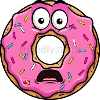 Shocked donut emoticon. PNG - JPG and vector EPS file formats (infinitely scalable). Image isolated on transparent background.
