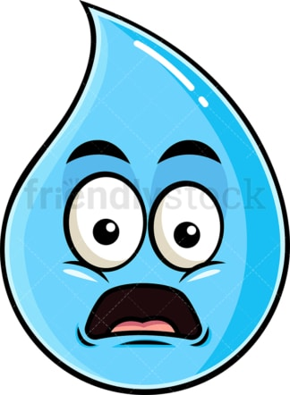 Shocked raindrop emoticon. PNG - JPG and vector EPS file formats (infinitely scalable). Image isolated on transparent background.