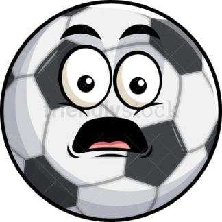 Shocked soccer ball emoticon. PNG - JPG and vector EPS file formats (infinitely scalable). Image isolated on transparent background.