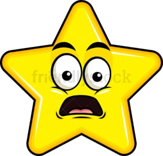Shocked star emoticon. PNG - JPG and vector EPS file formats (infinitely scalable). Image isolated on transparent background.