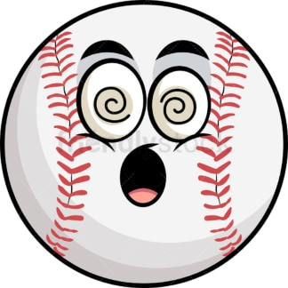 Stunned baseball emoticon. PNG - JPG and vector EPS file formats (infinitely scalable). Image isolated on transparent background.