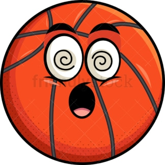 Stunned basketball emoticon. PNG - JPG and vector EPS file formats (infinitely scalable). Image isolated on transparent background.