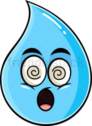 Stunned raindrop emoticon. PNG - JPG and vector EPS file formats (infinitely scalable). Image isolated on transparent background.