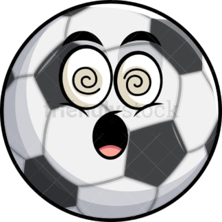 Stunned soccer ball emoticon. PNG - JPG and vector EPS file formats (infinitely scalable). Image isolated on transparent background.