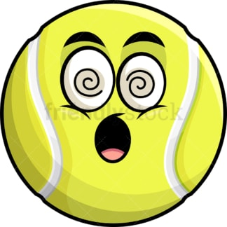 Stunned tennis ball emoticon. PNG - JPG and vector EPS file formats (infinitely scalable). Image isolated on transparent background.