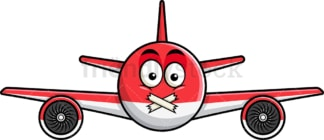 Taped mouth airplane emoticon. PNG - JPG and vector EPS file formats (infinitely scalable). Image isolated on transparent background.