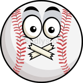 Taped mouth baseball emoticon. PNG - JPG and vector EPS file formats (infinitely scalable). Image isolated on transparent background.