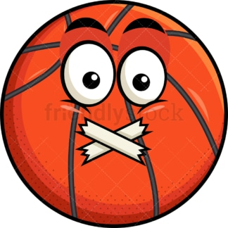 Taped mouth basketball emoticon. PNG - JPG and vector EPS file formats (infinitely scalable). Image isolated on transparent background.