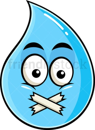 Taped mouth raindrop emoticon. PNG - JPG and vector EPS file formats (infinitely scalable). Image isolated on transparent background.