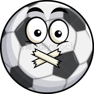 Taped mouth soccer ball emoticon. PNG - JPG and vector EPS file formats (infinitely scalable). Image isolated on transparent background.
