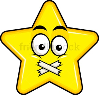Taped mouth star emoticon. PNG - JPG and vector EPS file formats (infinitely scalable). Image isolated on transparent background.