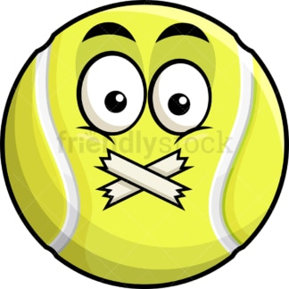 Taped mouth tennis ball emoticon. PNG - JPG and vector EPS file formats (infinitely scalable). Image isolated on transparent background.