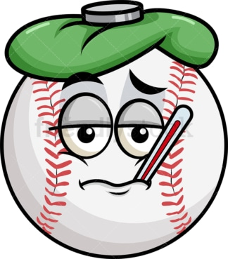 Feverish sick baseball emoticon. PNG - JPG and vector EPS file formats (infinitely scalable). Image isolated on transparent background.