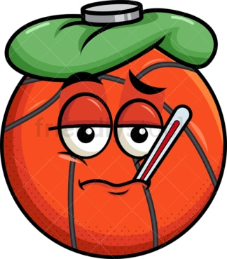 Feverish sick basketball emoticon. PNG - JPG and vector EPS file formats (infinitely scalable). Image isolated on transparent background.