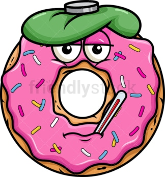 Feverish sick donut emoticon. PNG - JPG and vector EPS file formats (infinitely scalable). Image isolated on transparent background.