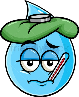 Feverish sick raindrop emoticon. PNG - JPG and vector EPS file formats (infinitely scalable). Image isolated on transparent background.