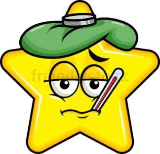 Feverish sick star emoticon. PNG - JPG and vector EPS file formats (infinitely scalable). Image isolated on transparent background.