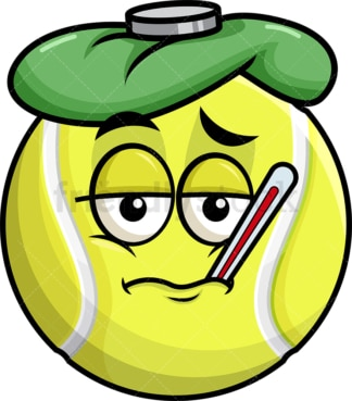 Feverish sick tennis ball emoticon. PNG - JPG and vector EPS file formats (infinitely scalable). Image isolated on transparent background.
