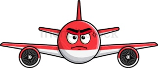 Annoyed airplane emoticon. PNG - JPG and vector EPS file formats (infinitely scalable). Image isolated on transparent background.