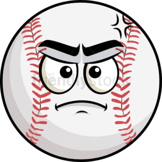 Annoyed baseball emoticon. PNG - JPG and vector EPS file formats (infinitely scalable). Image isolated on transparent background.